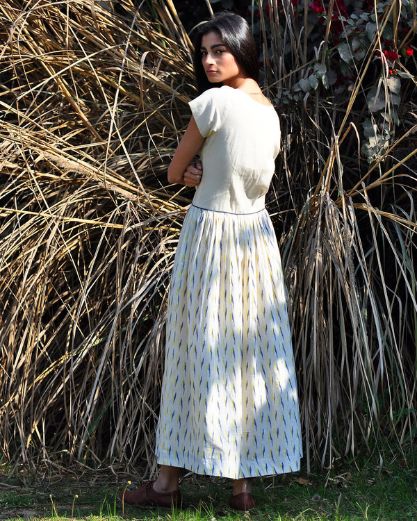 Ivory ikat buttoned maxi 2