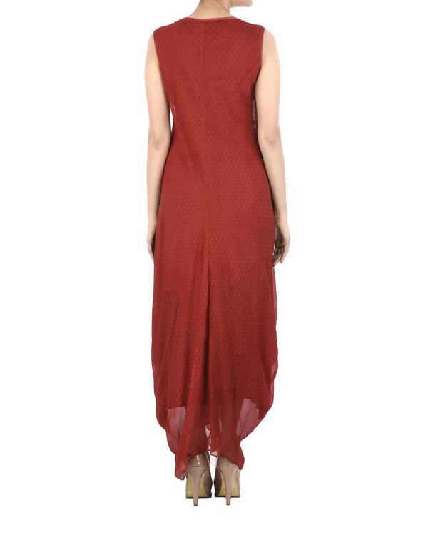 Maroon Chiffon pleated dhoti dress 1