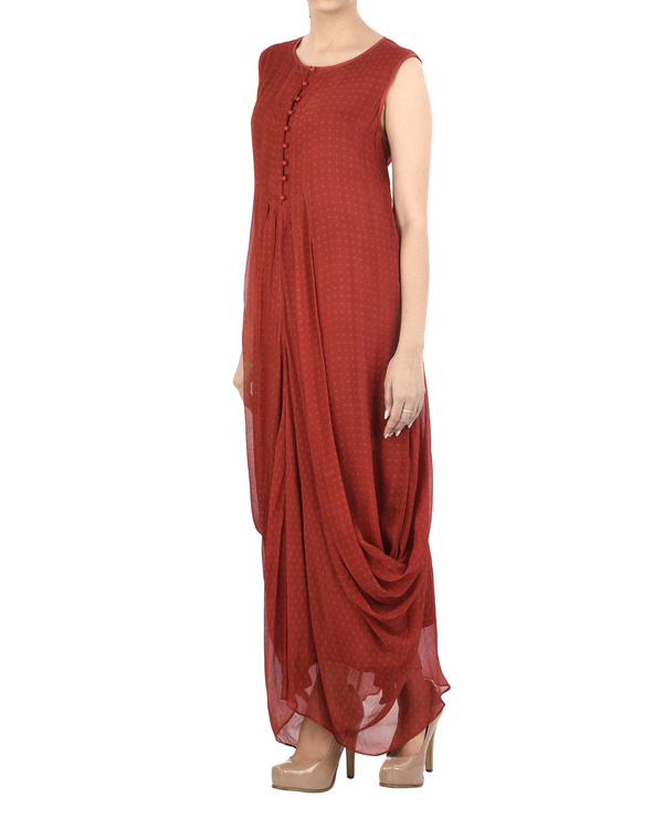 Maroon Chiffon pleated dhoti dress 2