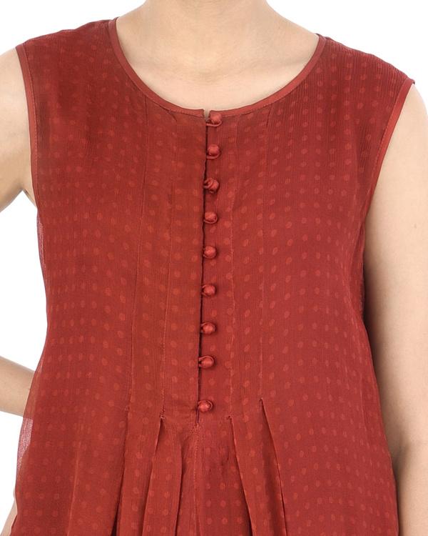 Maroon Chiffon pleated dhoti dress 3