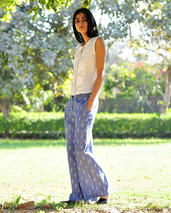 Wide legged ikat pants 1