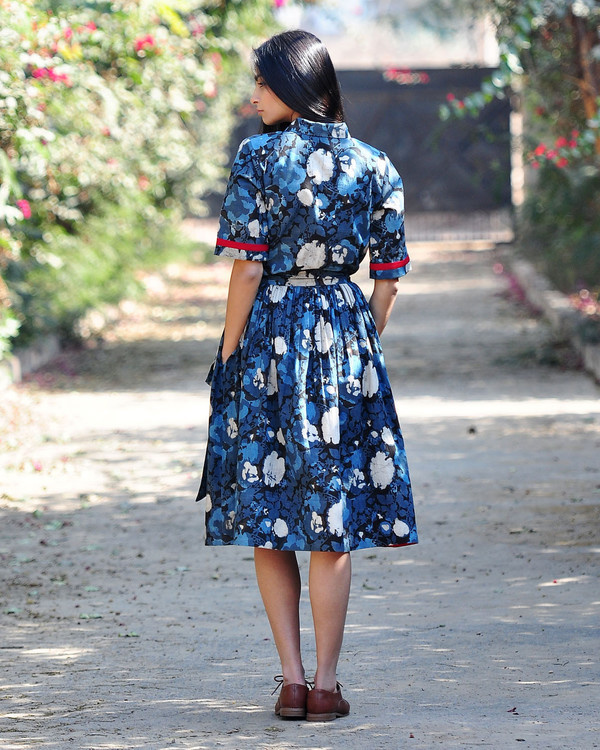 Floral fit and flare shirt dress 2