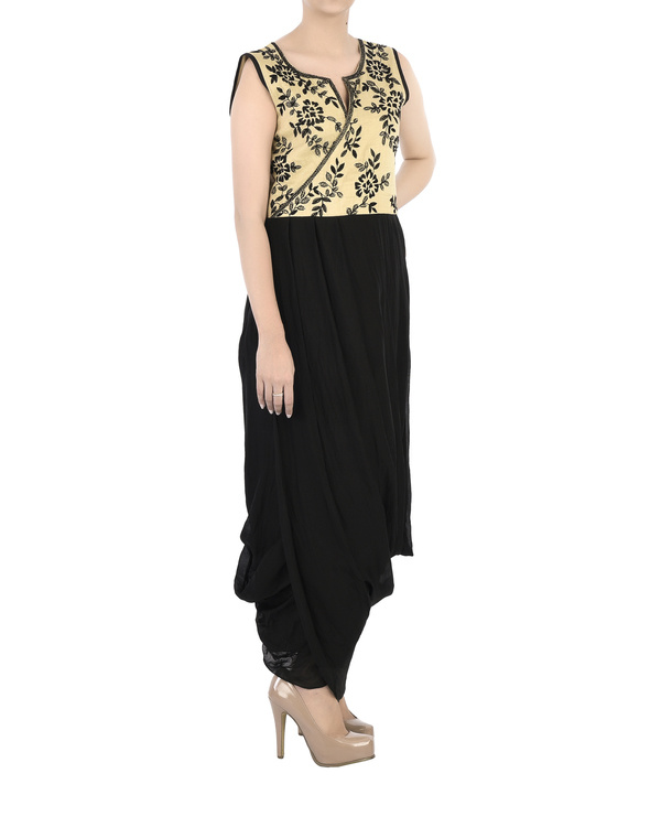 Emdroidered yoke dress with dhoti body 3