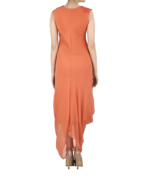 Orange Chiffon pleated dhoti dress 1