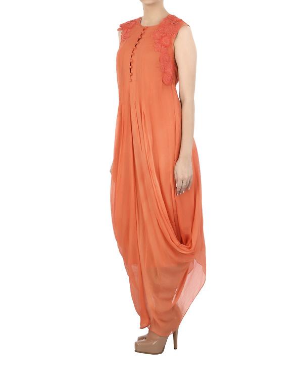 Orange Chiffon pleated dhoti dress 2