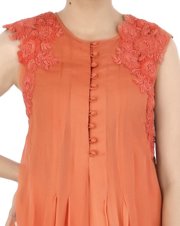 Orange Chiffon pleated dhoti dress 3