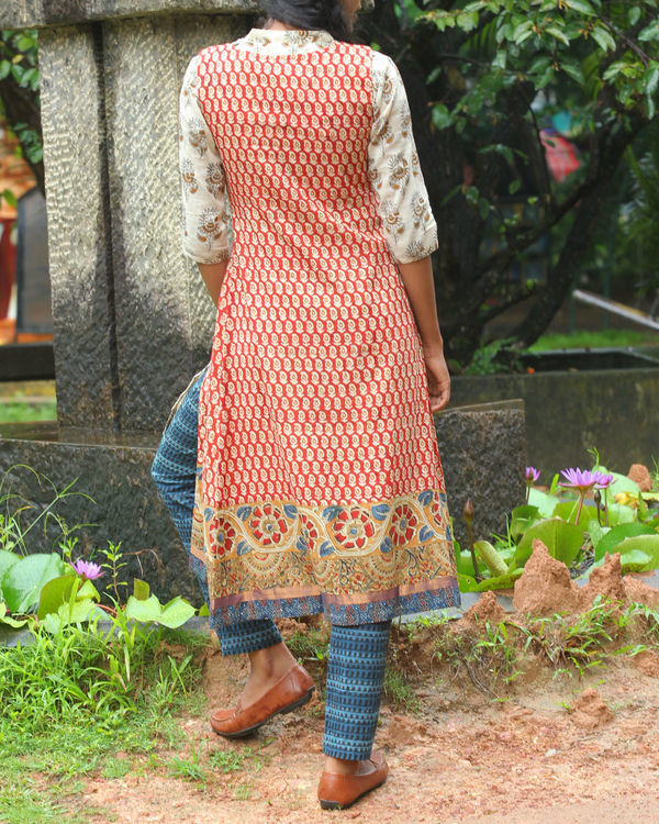 Twin set of red overcoat with white kurti 1