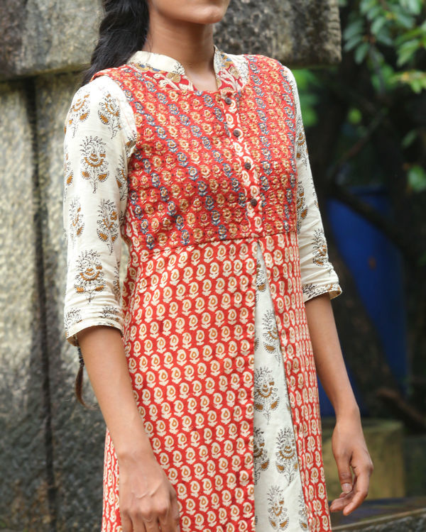 Twin set of red overcoat with white kurti 2