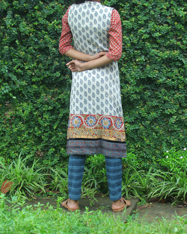 Rust kurti with printed overcoat 1