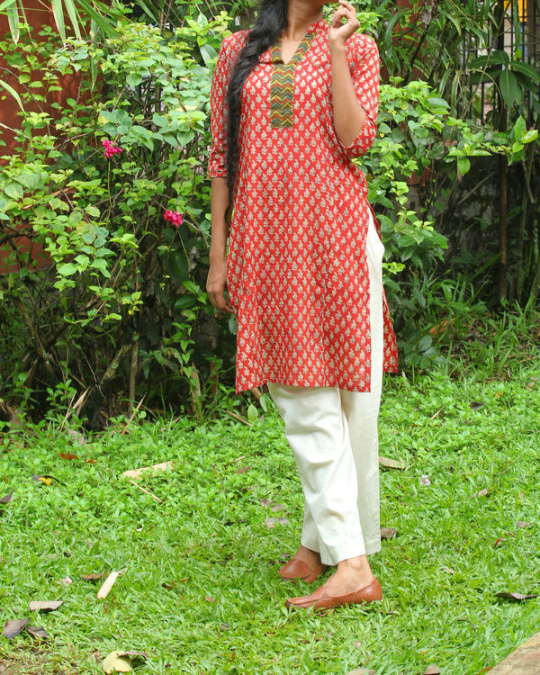 Red kurti with ivory overcoat 2