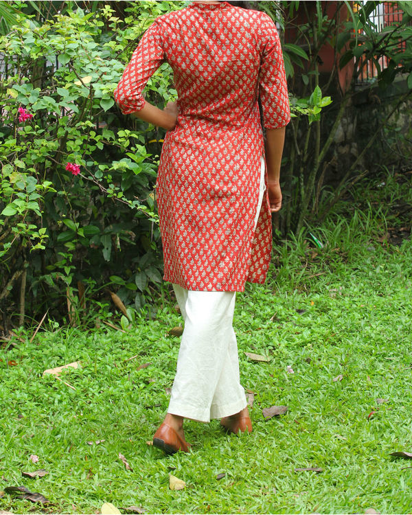 Red kurti with ivory overcoat 3