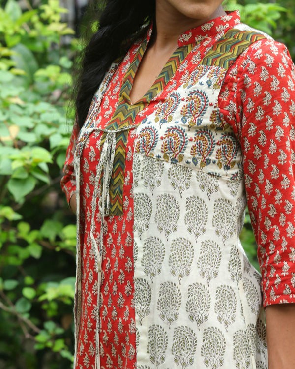 Red kurti with ivory overcoat 4