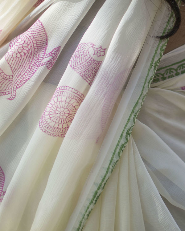 Off white chiffon saree 2