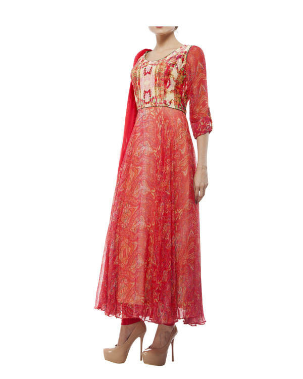 Georgette silk digital printed anarkali set 3