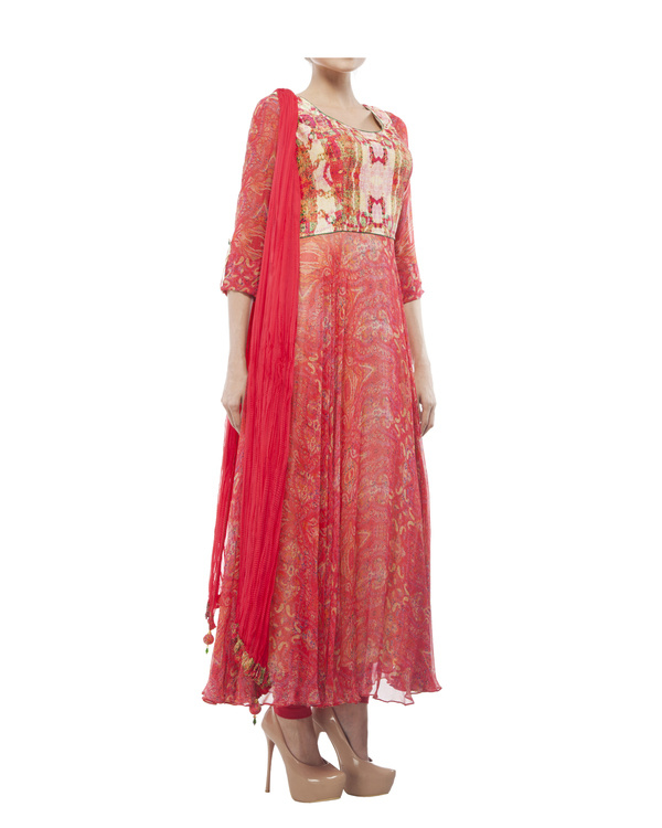 Georgette silk digital printed anarkali set 4