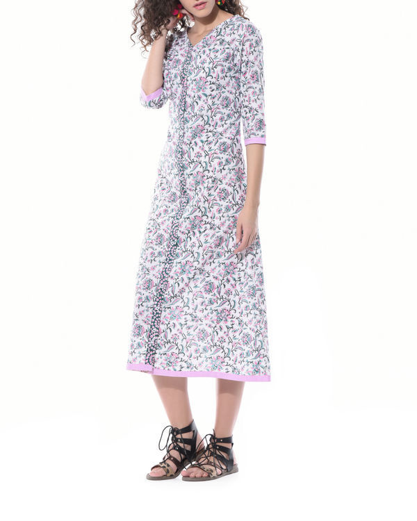 Floral hand printed shirt dress 1