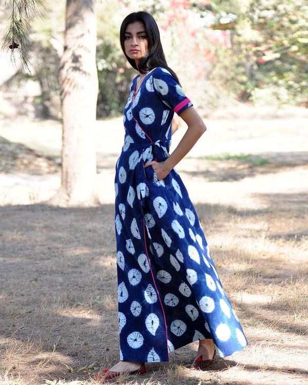 Indigo rush shibori gown 1