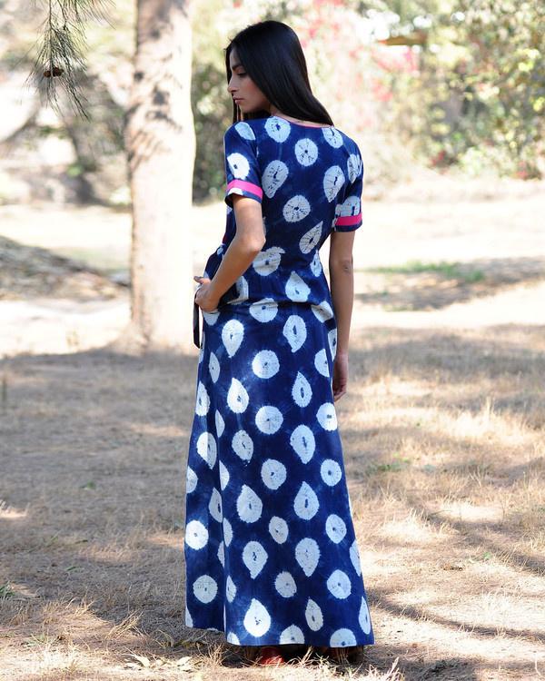 Indigo rush shibori gown 2