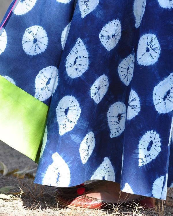 Indigo rush shibori gown 3