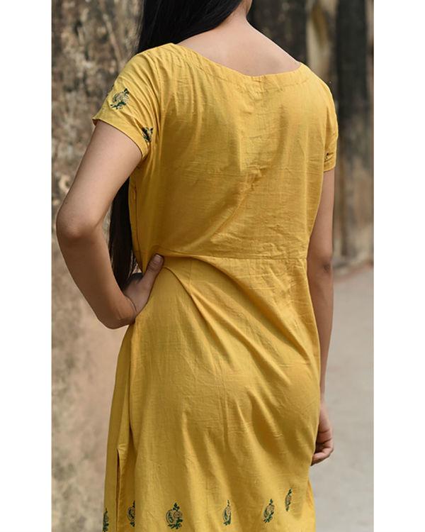 Ochre side slit dress 1