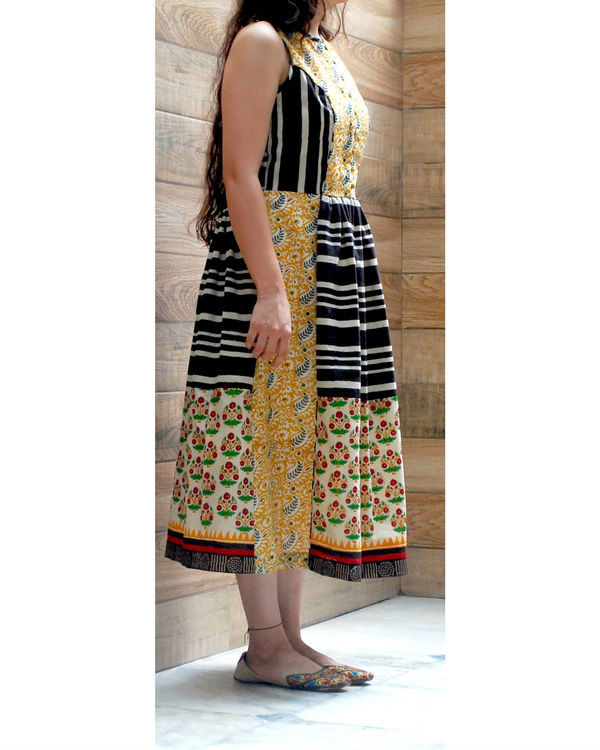Hand blocked stripe dress 1