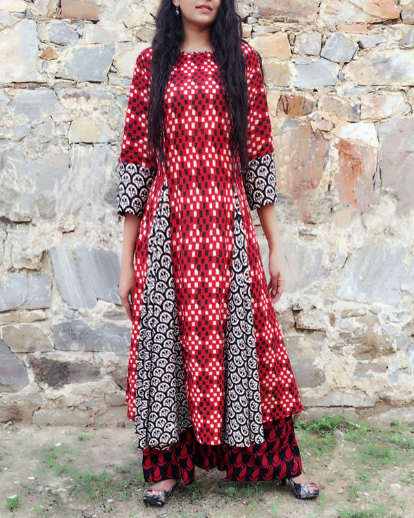 Red and black kurta set 1