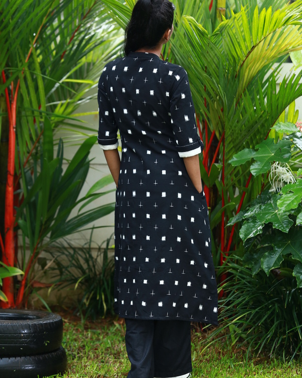 Black and white ying yang ikat kurta 2
