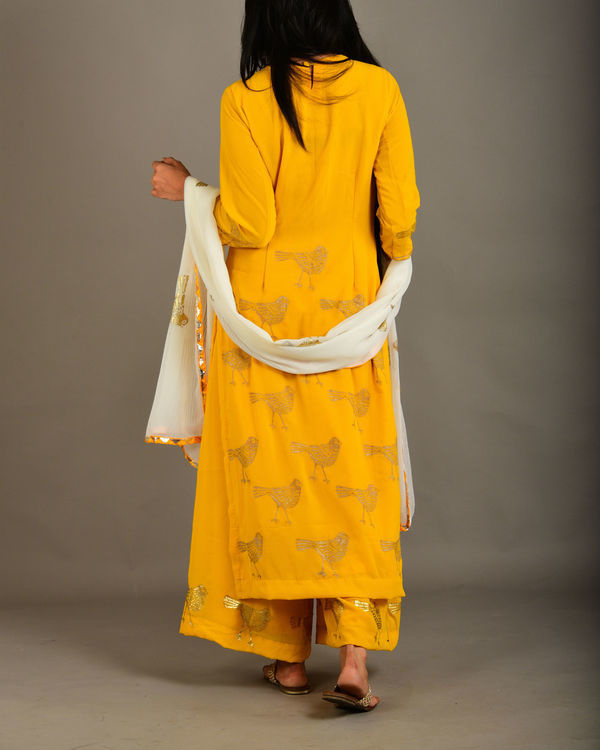 Mango yellow georgette bird suit set 1