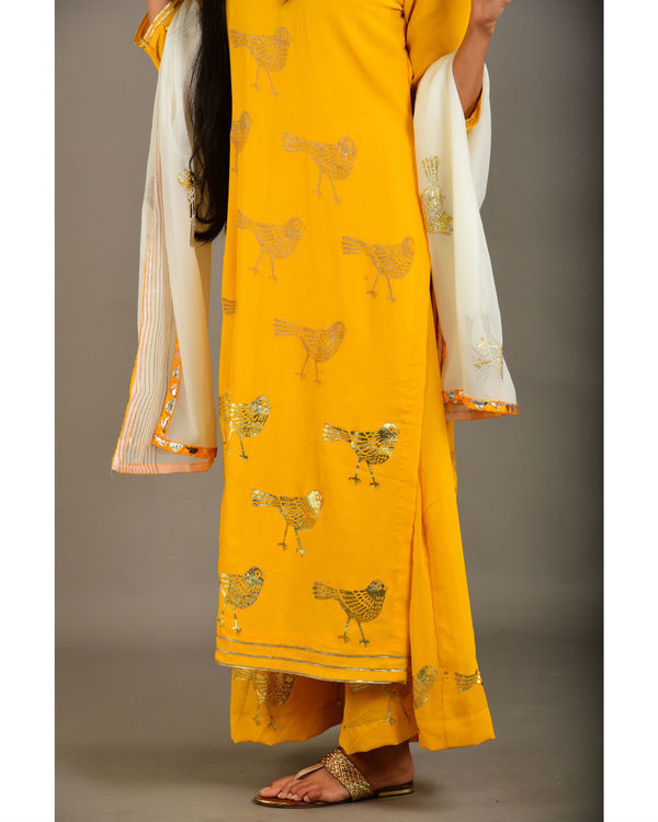 Mango yellow georgette bird suit set 2