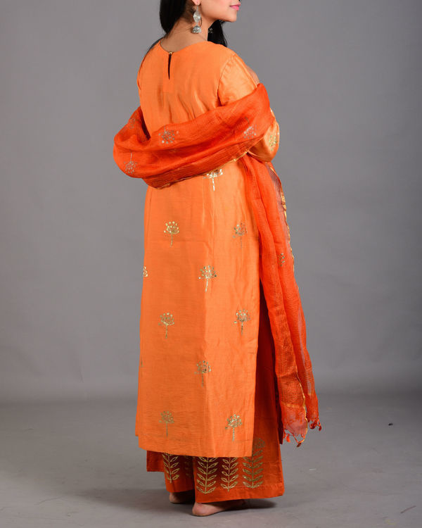Tangerine orange marigold suit set 2