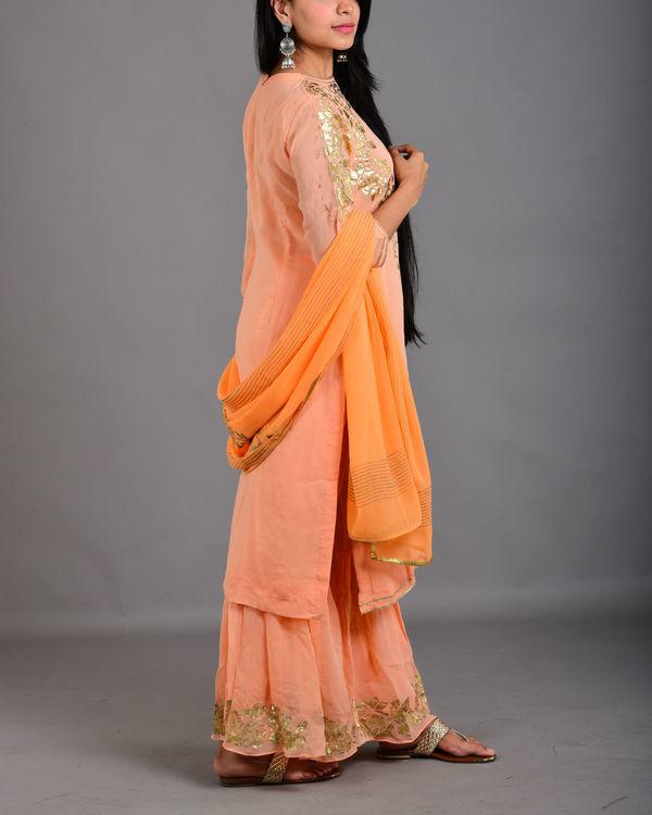 Pink peach gharara suit set 1