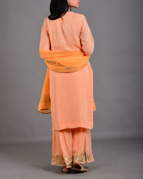 Pink peach gharara suit set 2