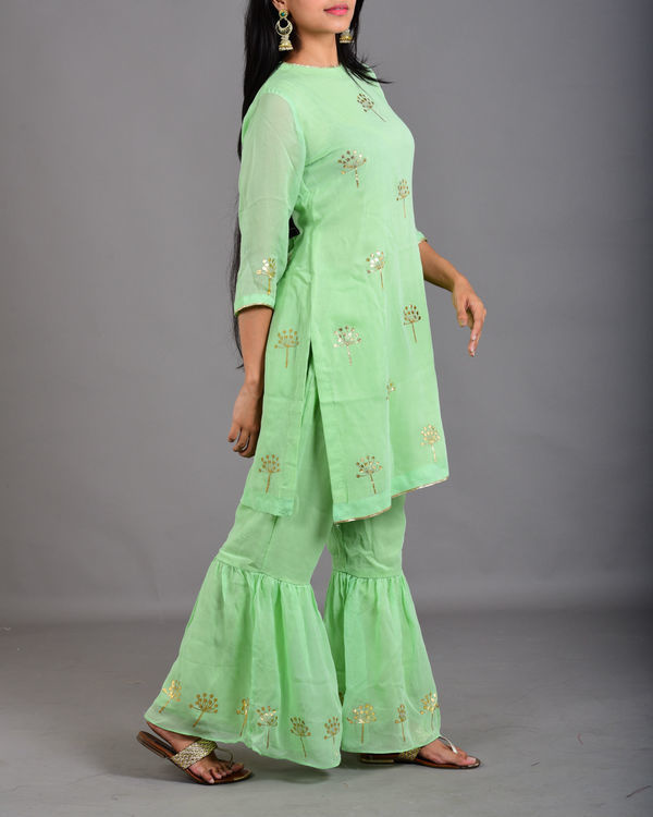 Mint green gharara suit set 1