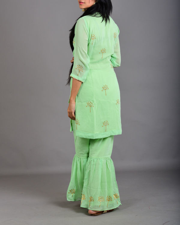 Mint green gharara suit set 2