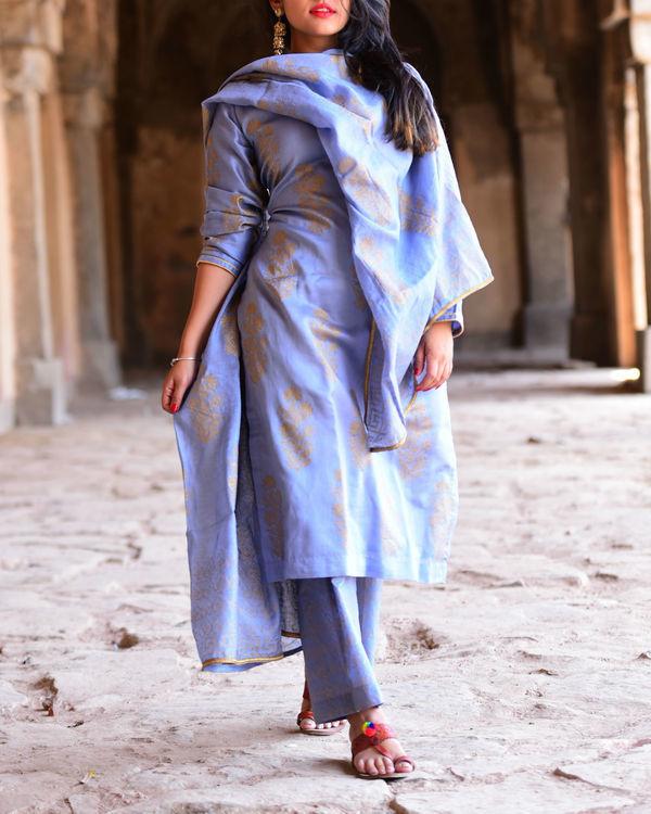 Jade Blue chanderi kurta set with dupatta 1