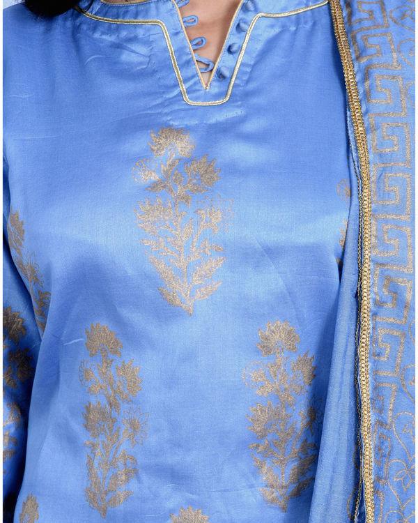Jade Blue chanderi kurta set with dupatta 2