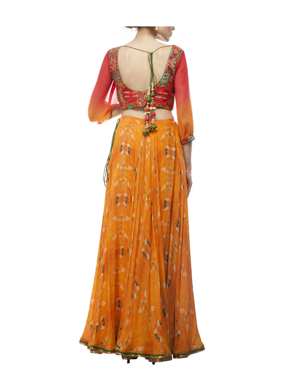 Pink & orange georgette silk lehenga set 2
