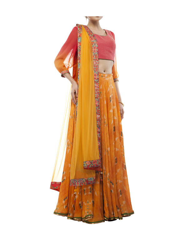 Pink & orange georgette silk lehenga set 4