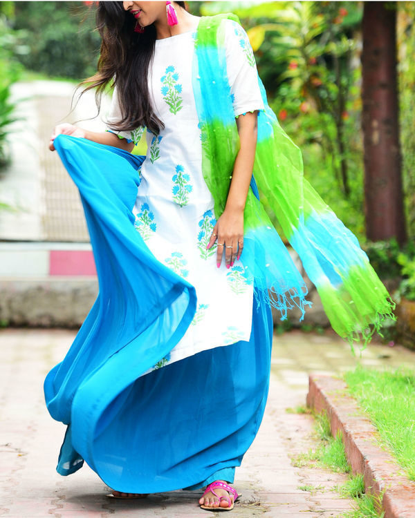 Blue green kurta set with dupatta 1