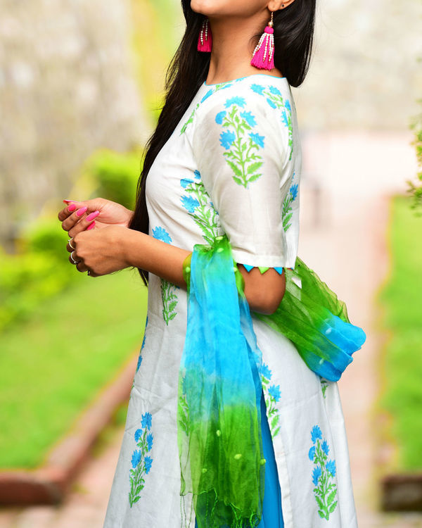 Blue green kurta set with dupatta 2