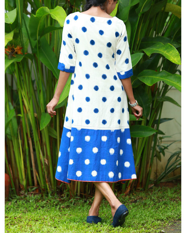 White and blue ikat kurta 2