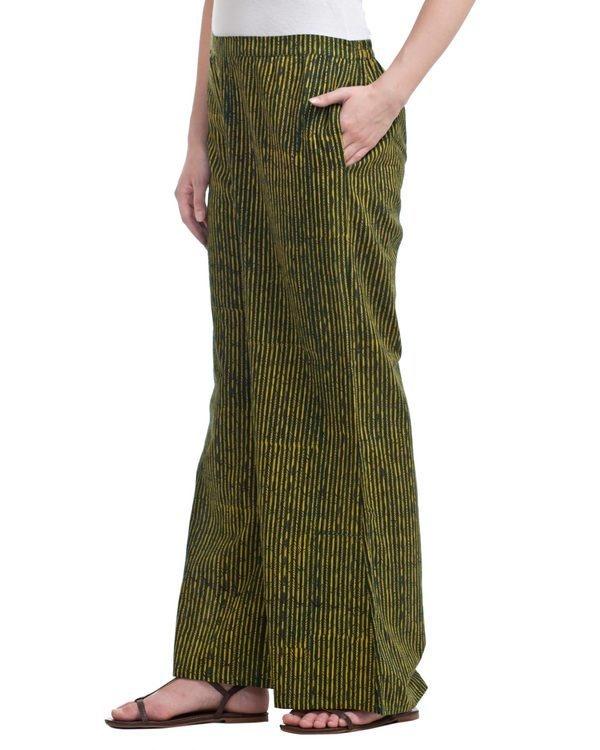 Green striped plazzo pants 1