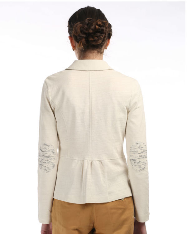 Ivory knit blazer with elbow patch 1