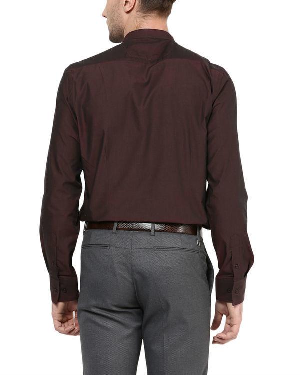 Maroon mandarin collar shirt 1