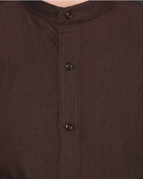 Maroon mandarin collar shirt 2