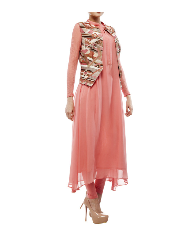 Thread and bead embroidered waist coat, pintuk kurta in georgette, plus leggings 4