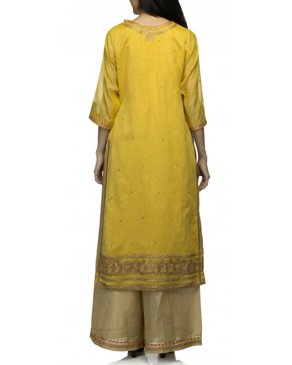 Mustard yellow kurta set with dupatta 1