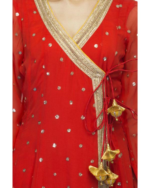 Red angrakha set with dupatta 2
