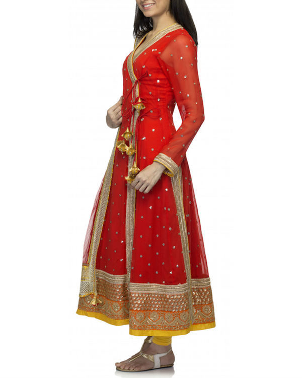 Red angrakha set with dupatta 3