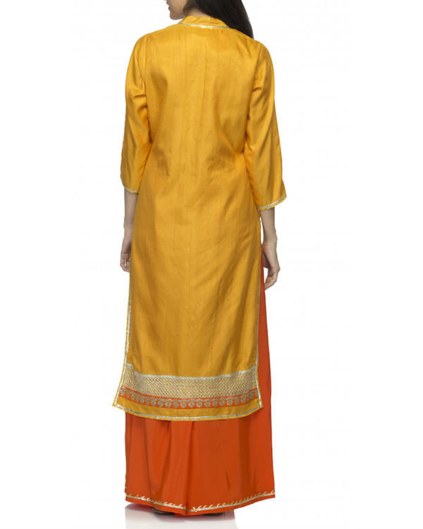 Orange yellow kurta set with dupatta 1